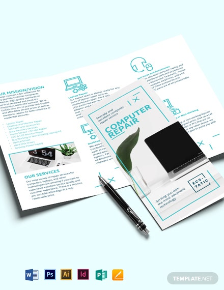 Computer Repair Shop Tri-Fold Brochure Template