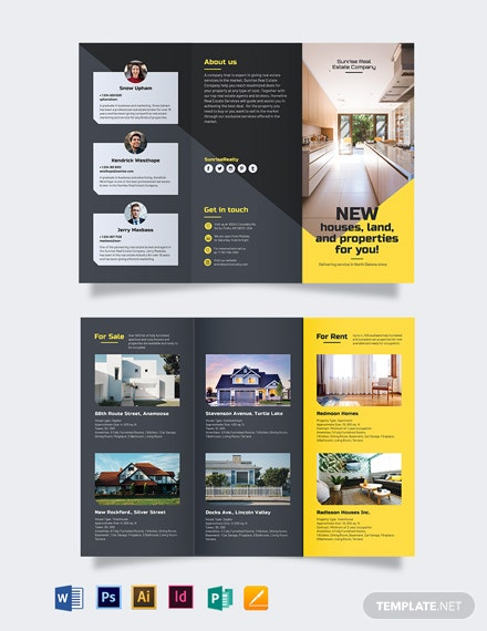 real estate company tri fold brochure