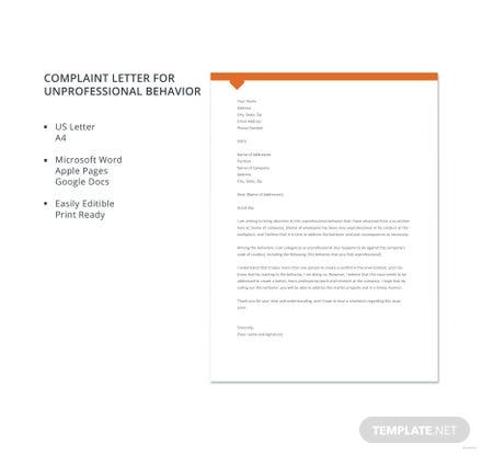 Free complaint letter for unprofessional behavior template download free complaint letter for unprofessional behavior template spiritdancerdesigns Choice Image