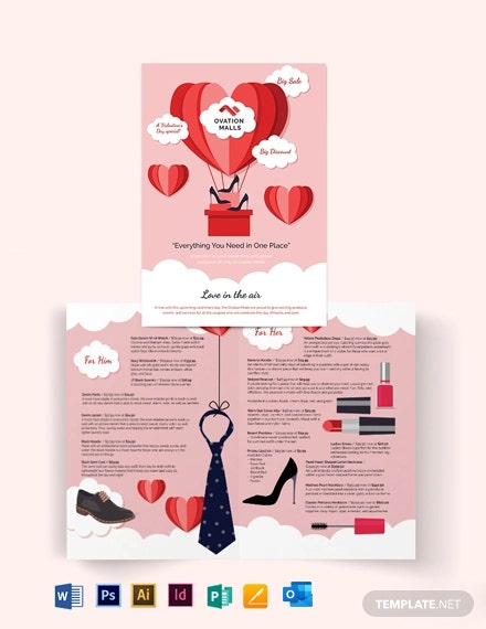 Valentines Day Bi-Fold Brochure Template