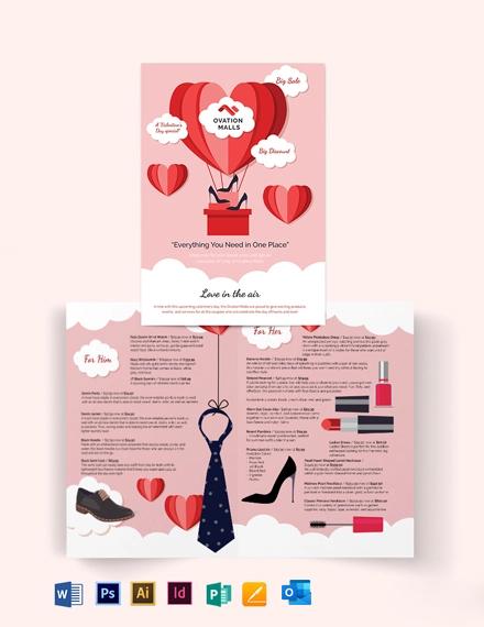 Valentines Day Bi-Fold Brochure Template