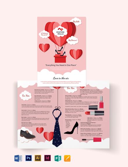 valentines day bi fold brochure