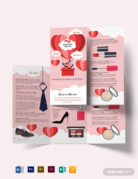Valentines Day Tri-Fold Brochure Template