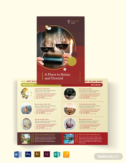 Wine Country Hotel Bi-Fold Brochure Template