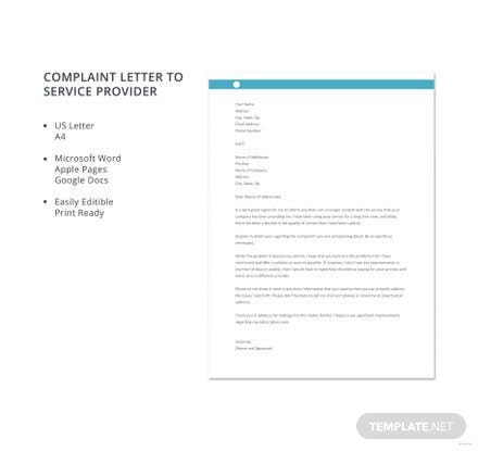 Free Complaint Letter to Service Provider Template