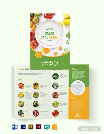 Healthy Food Diet Bi-Fold Brochure Template