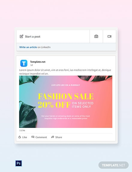 Basic Fashion Sale LinkedIn Blog Post Template