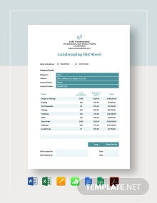Landscaping Bid Sheet Template