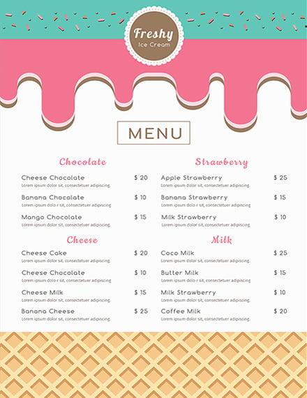 free ice cream menu template download 36 menus in psd word