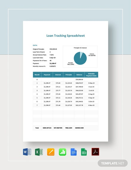 Loan Tracking Spreadsheet Template