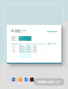 Meeting Sheet Template