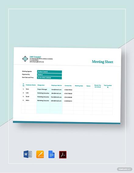 Meeting Sheet Template