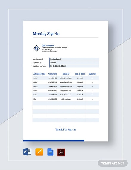 Meeting Sign In Sheet Template