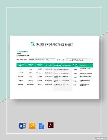 Sales Call Prospecting Sheet Template Word Google Docs