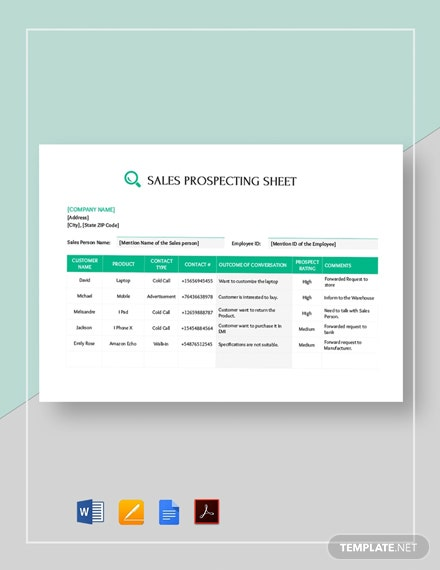 Sales Call Prospecting Sheet Template