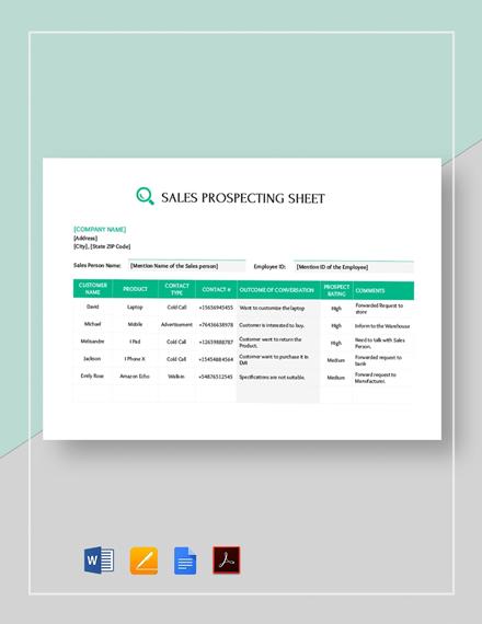 Sales Call Prospecting Sheet