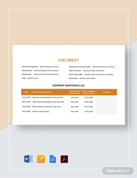Maintenance Log sheet Template