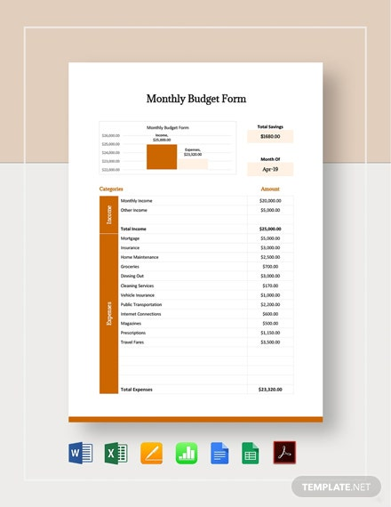 Monthly Budget Form Template