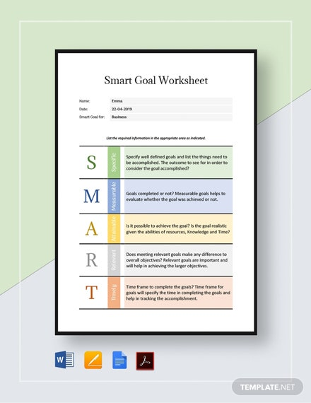 Smart Goal Worksheet Template