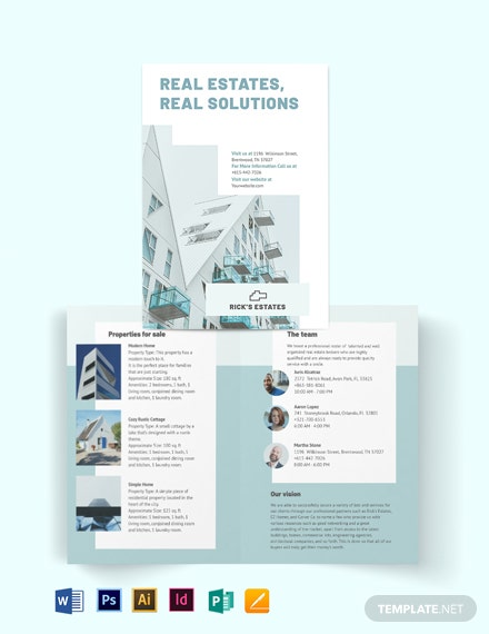 Residential Real Estate Broker Bi-Fold Brochure Template