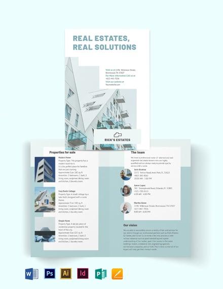 Residential Real Estate Broker Bi-Fold Brochure Template