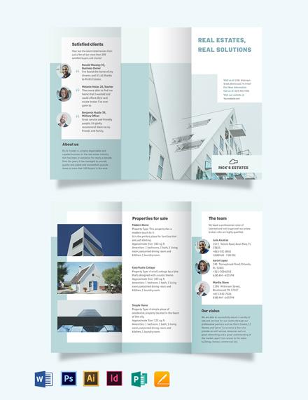 Residential Real Estate Broker Tri-Fold Brochure Template
