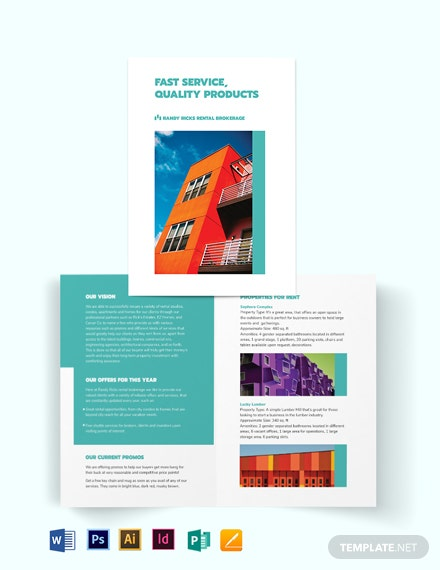 Rental Broker Bi-Fold Brochure Template