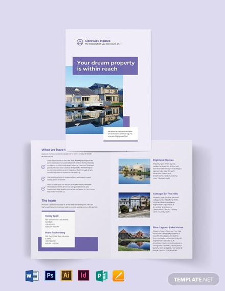 Residential Real Estate Agent/Agency Bi-Fold Brochure Template