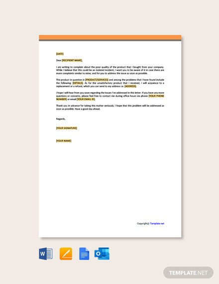 Free Customer Complaint Letter Template