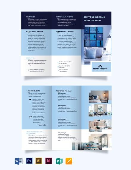 Apartment Condo Agent Agency Tri-Fold Brochure Template