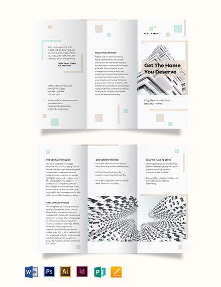 Real Estate Mortgage Company Tri-Fold Brochure Template