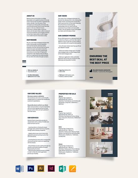 Apartment/Condo Mortgage Broker Tri-Fold Brochure Template