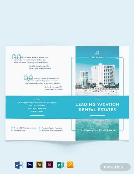 Vacation Rental Management Bi-Fold Brochure Template