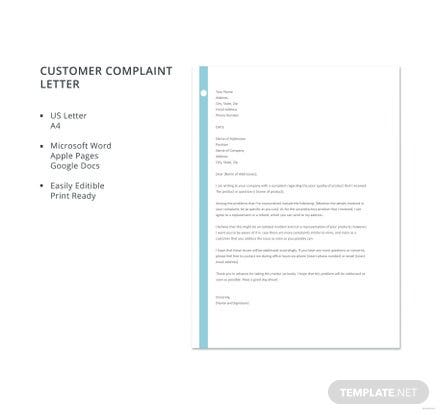 Free Letter of Customer Complaint Template