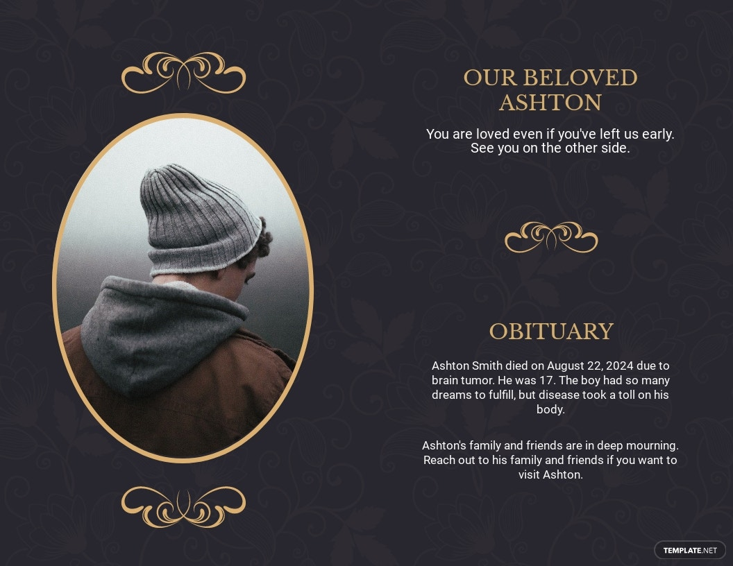 Elegant Funeral Obituary Bi Fold Brochure Template 1.jpe