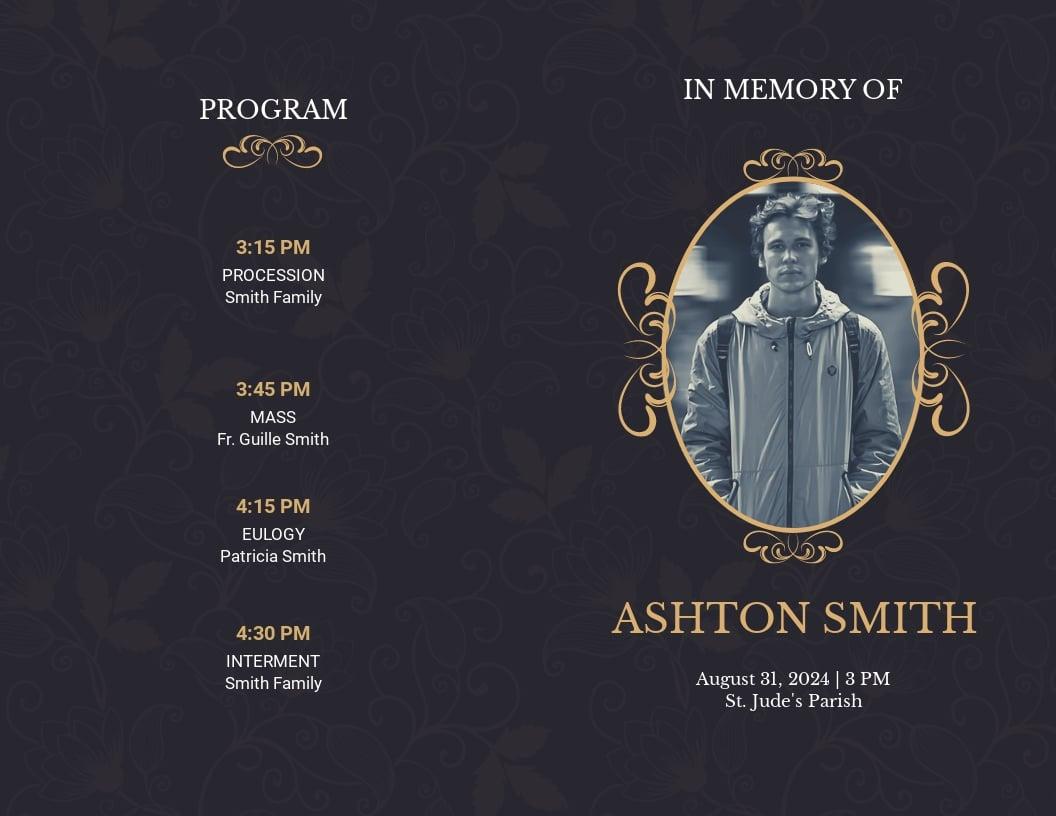 Elegant Funeral Obituary Bi Fold Brochure Template.jpe