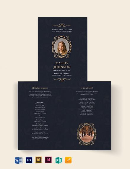Elegant Funeral Obituary Bi-Fold Brochure Template