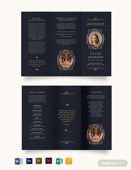 Elegant Funeral Obituary Tri-Fold Brochure Template [Free Publisher] - Illustrator, InDesign, Word, Apple Pages, PSD