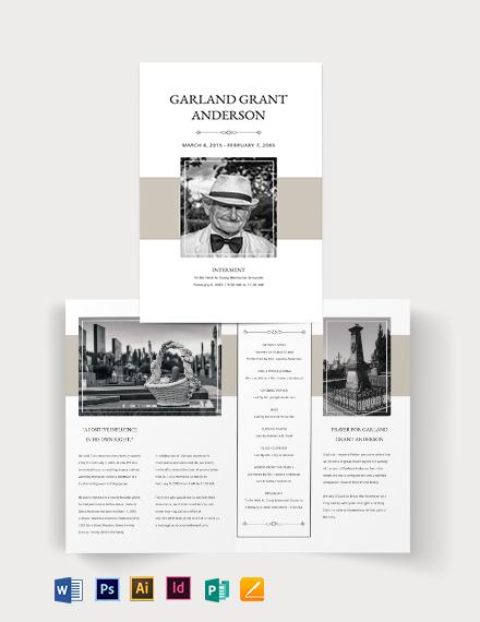 Blank Funeral Mass Bi-Fold Brochure Template