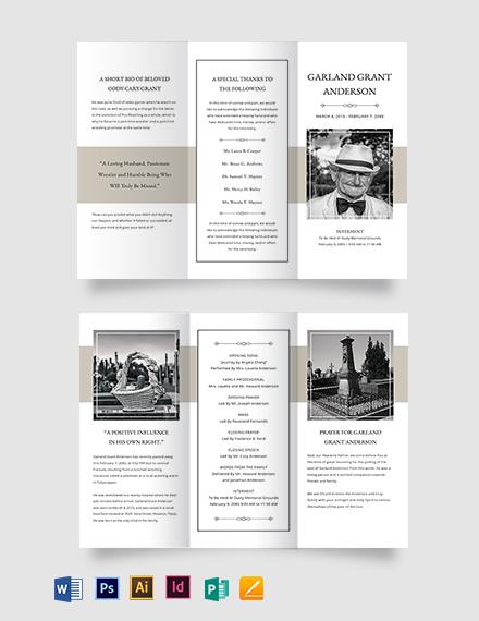 Blank Funeral Mass Tri-Fold Brochure Template