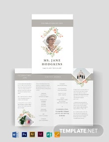 Blank Life Celebration Funeral Bi-Fold Brochure Template