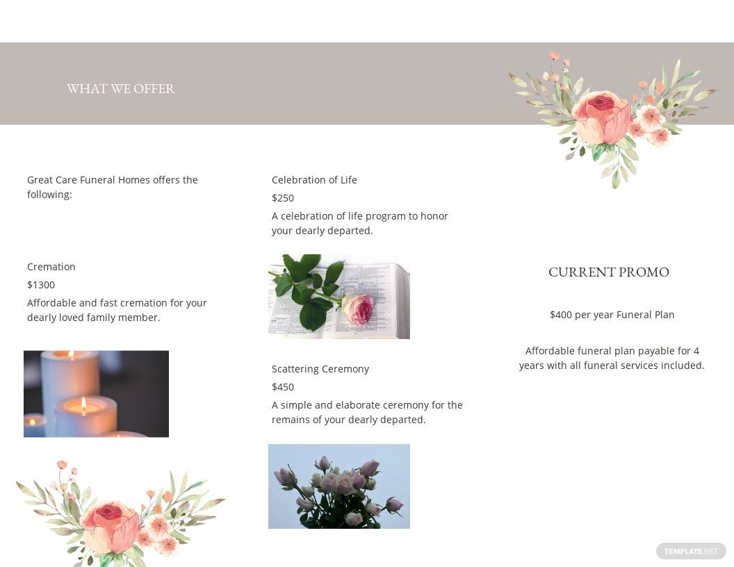 Blank Life Celebration Funeral Tri Fold Brochure Template 1.jpe