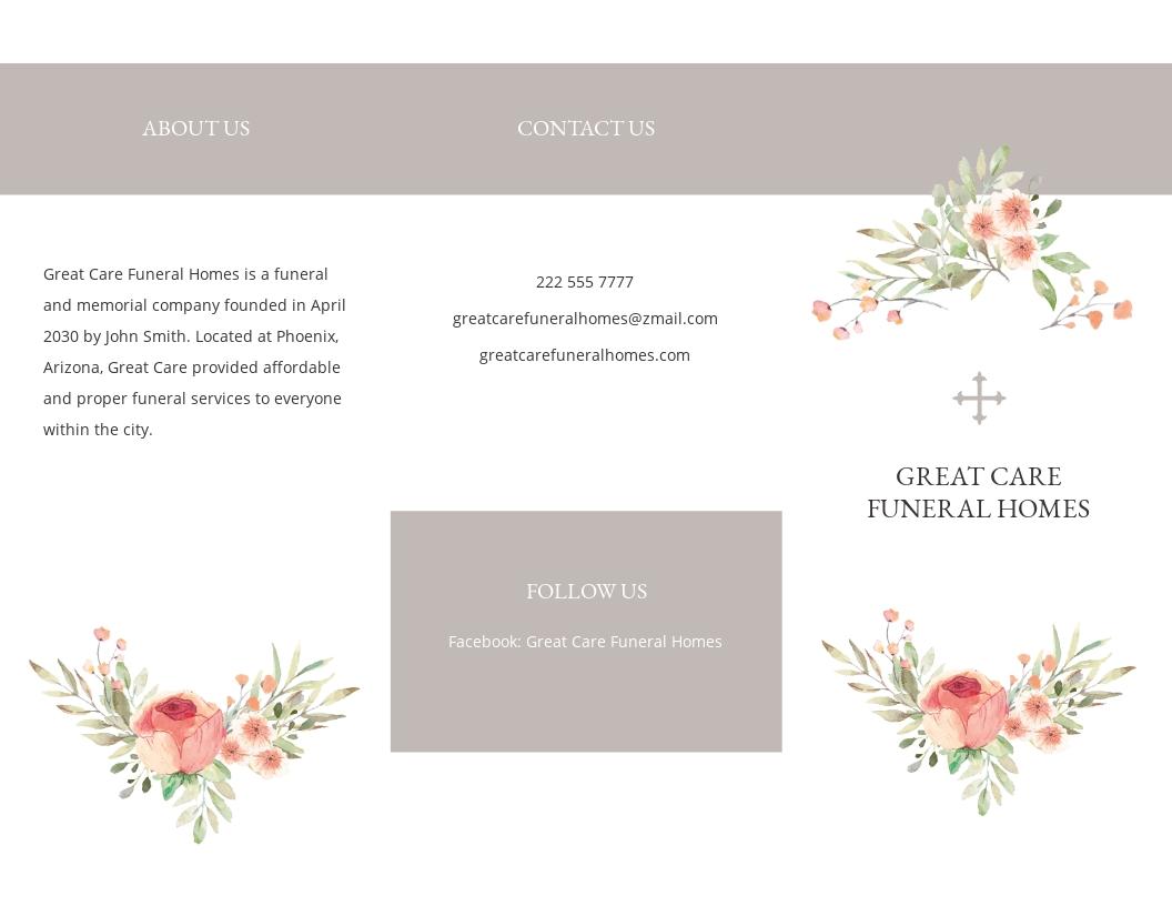 Blank Life Celebration Funeral Tri Fold Brochure Template.jpe