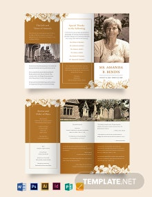 Editable Cremation Funeral Tri-Fold Brochure Template