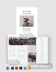 Ceremony Cremation Funeral Bi-Fold Brochure Template