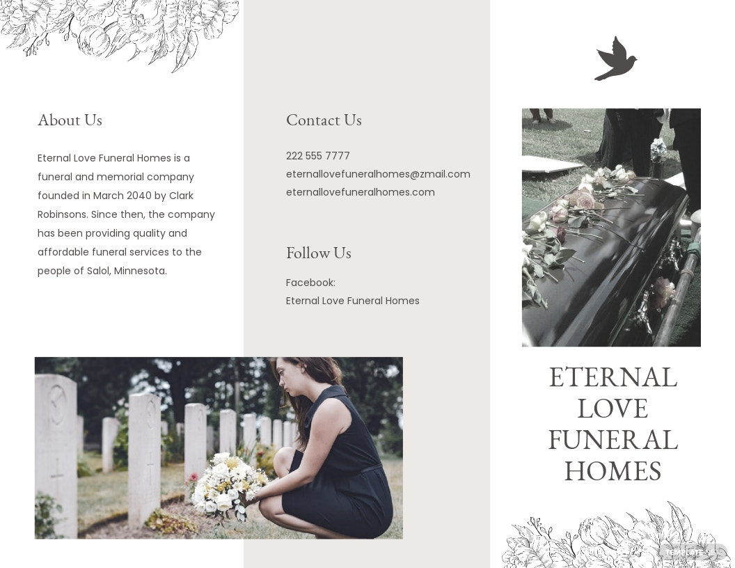Ceremony Cremation Funeral Tri Fold Brochure Template.jpe
