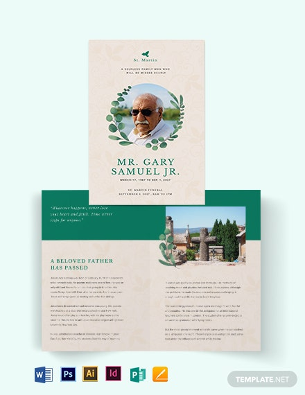Booklet Funeral Obituary Brochure Template