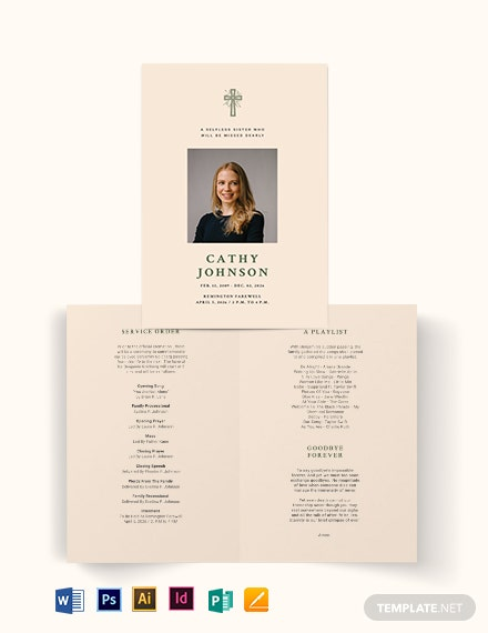 Catholic Eulogy Funeral BiFold Brochure