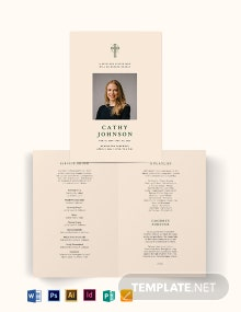 Catholic Eulogy Funeral Bi-Fold Brochure Template