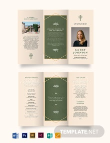 Catholic Eulogy Funeral Tri-Fold Brochure Template
